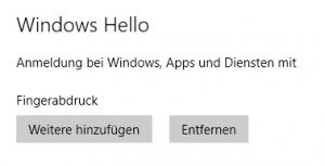 Windows-Hello für Fingerprint-Unterstützung