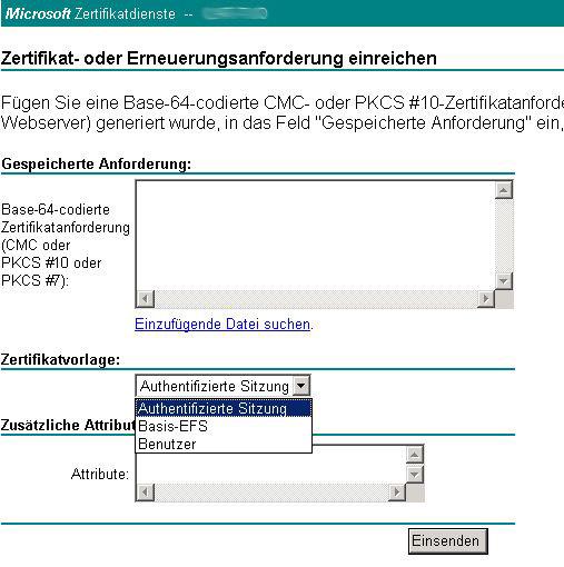"""Microsoft Zertifikatdienste: Vorlage """"Webserver"""" für erweiterte ..."""
