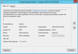 Information zur Passwortänderung, Netlogon 5823