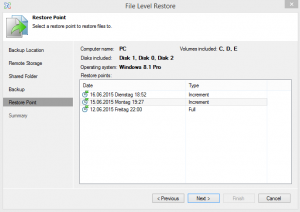 Veeam File Level Restore