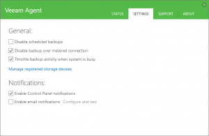 Veeam Agent Control Panel Settings