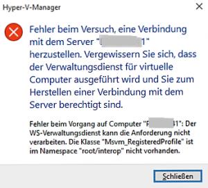 Hyper-V-Manager Fehlermeldung